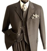 NWT Vittorio St. Angelo Men's 3-button Classic Brown Suit Size 36R (30w)