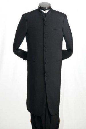NWT Vittorio St. Angelo Men's Classic Mandarin Black Suit Size 54R (48w)