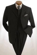 NWT Vittorio St. Angelo Men's 3-button Classic Black Suit Size 44R (38w)