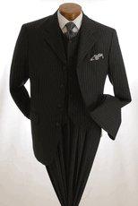 NWT Vittorio St. Angelo Men's 3-button Classic Black Suit Size 46R (40w)