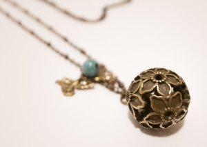 Rustic Copper Ball Necklace with Pigeon Pendant and Turquoise