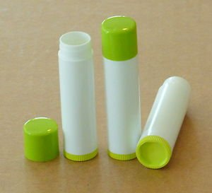 50 NEW Empty WHITE w/ LIME GREEN CAP & BOTTOM Lip Balm Chapstick Tubes .15 oz