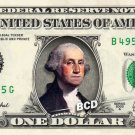 George Washington in COLOR on REAL Dollar Bill Collectible Cash Money