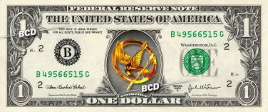 HUNGER GAMES Mockingjay Pin on REAL Dollar Bill Collectible Cash Money