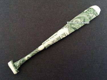 Money Origami BASEBALL BAT - Dollar Bill Art - Made with $1.00 Bill
