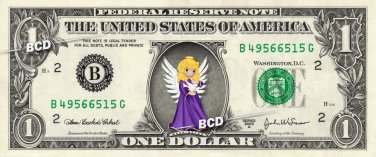 BEAUTIFUL ANGEL on REAL Dollar Bill Collectible Cash Money