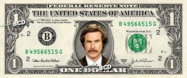 RON BURGUNDY Anchorman - Real Dollar Bill Anchor Man Cash Money Collectible Memorabilia
