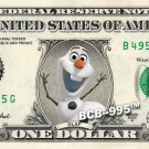 OLAF - Frozen on REAL Dollar Bill - $1 Celebrity Custom Cash Money
