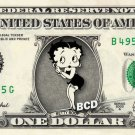 BETTY BOOP on REAL Dollar Bill Cash Money Collectible Memorabilia Celebrity Bank