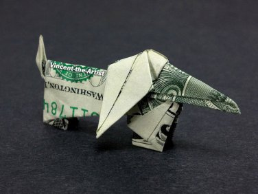 Money Origami DACHSHUND DOG - Dollar Bill Art - Made with $1.00 Bill Cash