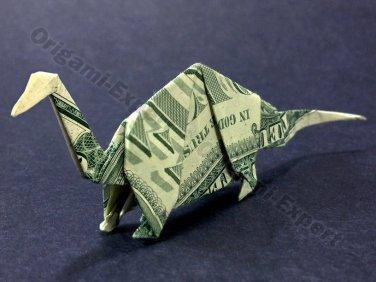 Money Origami APATOSAURUS Dinosaur - Dollar Bill Art - Made with Real $1.00 Cash