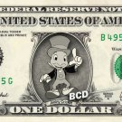 Jiminy Cricket on a REAL Dollar Bill Disney Cash Money Collectible Memorabilia Celebrity