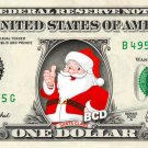 SANTA CLAUS on REAL Dollar Bill - Collectible Celebrity Cash Money Art Clause