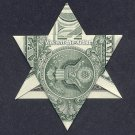 Money Origami STAR of DAVID - Dollar Bill Art - Made with real $1 Cold Cash