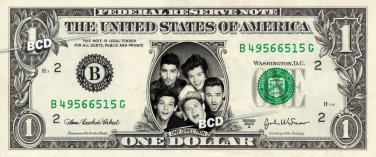 ONE DIRECTION on a REAL Dollar Bill Cash Money Collectible Memorabilia Celebrity