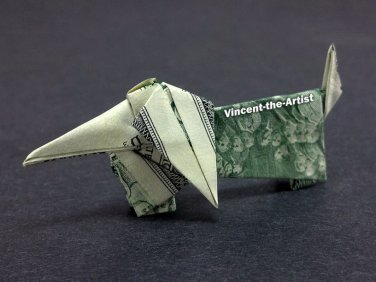 $2 Bill Money Origami DACHSHUND DOG - Dollar Bill Art - Made with $2 Bill Cash