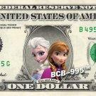 Disney's Elsa & Anna - Frozen - on REAL Dollar Bill - $1 Collectible Custom Cash