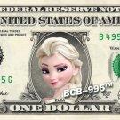 ELSA - Frozen on REAL Dollar Bill - $1 Celebrity Custom Cash Money