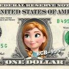 ANNA - Frozen on REAL Dollar Bill - $1 Celebrity Custom Cash Money