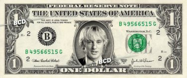 OWEN WILSON on REAL Dollar Bill Spendable Cash Celebrity Money Mint