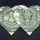 Money Origami DOUBLE HEARTS - Dollar Bill Art - Made with $1.00 Cash