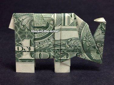 Money Origami ELEPHANT - Dollar Bill Art - Made with $1.00 Cash