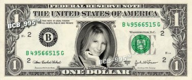 BARBRA STREISAND on REAL Dollar Bill - Celebrity Collectible Custom Cash