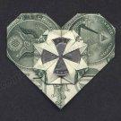 Money Origami HEART w/a Quarter - Dollar Bill Art - Made with $1.00 Cash