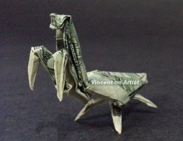 Dollar Origami PRAYING MANTIS - Money Bill Art - Made with Real $1.00 Cash
