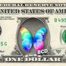 RAINBOW BUTTERFLY on REAL Dollar Bill - Collectible Custom Cash Money