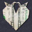 Money Origami HEART with 2 Doves - Dollar Bill Art - Made with Real $1.00 Cash
