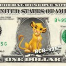 Disney's Simba on REAL Dollar Bill - Collectible Custom Cash Money $1.00