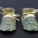 Money Origami BABY BOOTIES - Dollar Bill Art - Made with $1.00 Cash