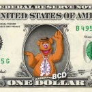 FOZZIE - Muppets on REAL Dollar Bill - Collectible Celebrity Cash Money Art