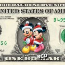 Disney's Christmas Mickey and Minnie REAL Dollar Bill Collectible Cash Money