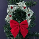 MONEY ORIGAMI WREATH - Beautiful Christmas Tree Ornament - Made of Dollar Bill