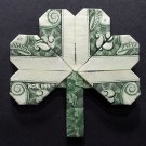$2 Bill Money Origami SHAMROCK LEAF - Dollar Bill Art - Made with real $2 Cash