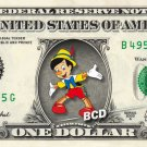 PINOCCHIO on REAL Dollar Bill - Collectible Celebrity Cash Money Art
