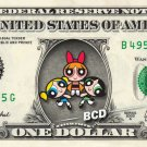 POWERPUFF GIRLS on REAL Dollar Bill - Collectible Celebrity Cash Money Art