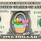 EASTER BASKET on REAL Dollar Bill - Collectible Celebrity Cash Money Art $$