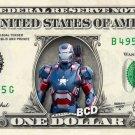 IRONMAN PATRIOT on REAL Dollar Bill - Collectible Celebrity Cash Money Art
