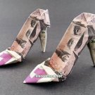 $5 Bill Money Origami HIGH HEELS - Dollar Bill Art - Made with $5.00 Bill