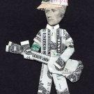 ALEXANDER HAMILTON w/Baseball Cap playing Guitar Dollar Origami - Money Presiden