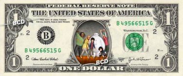 Disney's Big Hero 6 (Baymax) on Dollar Bill Collectible Cash Money