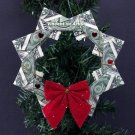 DOLLAR ORIGAMI WREATH - Beautiful Christmas Tree Ornament - Made of Money Bill