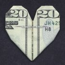 $20 Bill Money Origami HEART - Dollar Bill Art - Made with Real $20.00 Cash Gift