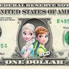 Frozen ANNA ELSA on a REAL Dollar Bill Disney Cash Money Collectible Memorabilia