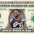 LEBRON JAMES Cleveland Cavaliers on REAL Dollar Bill Celebrity Cash Money Art