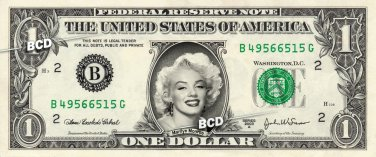 MARILYN MONROE on REAL Dollar Bill - Collectible Celebrity Cash Money