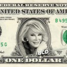 JOAN RIVERS on REAL Dollar Bill - Collectible Celebrity Custom Cash Money Art $1